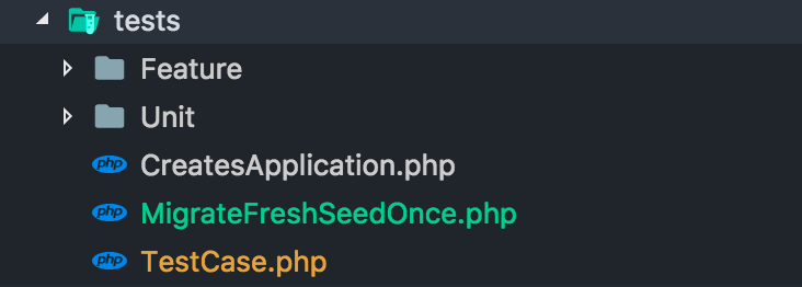 "Create a trait named ""MigrateFreshSeedOnce.php"" in your tests folder."